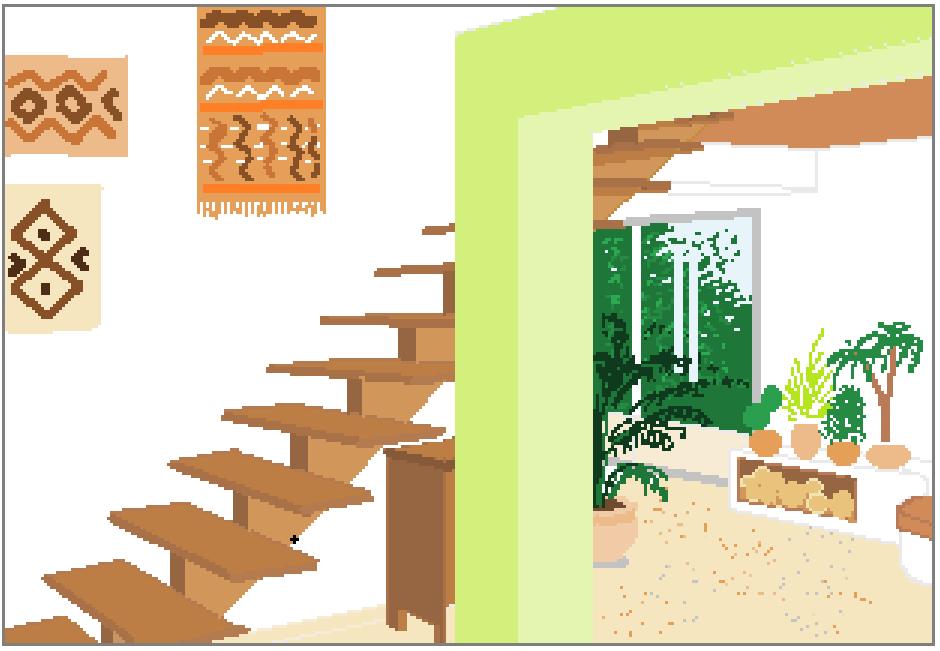 Capture perspective escalier poteau vert