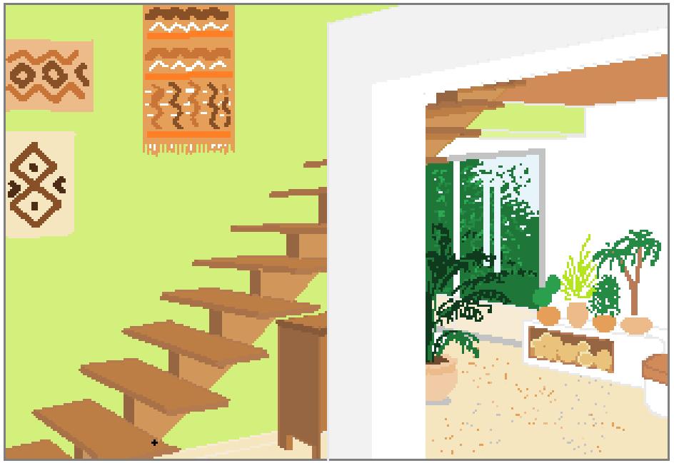 Capture perspective montée d'escalier verte