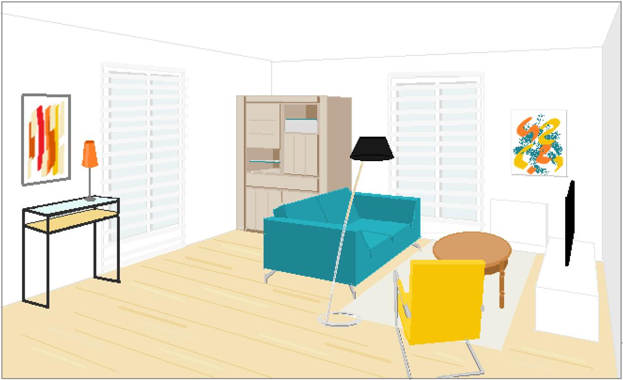 salon canapé bleu -fauteuil jaune