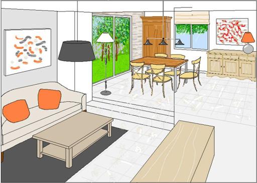 salon coussins orange - salle à manger - buffet