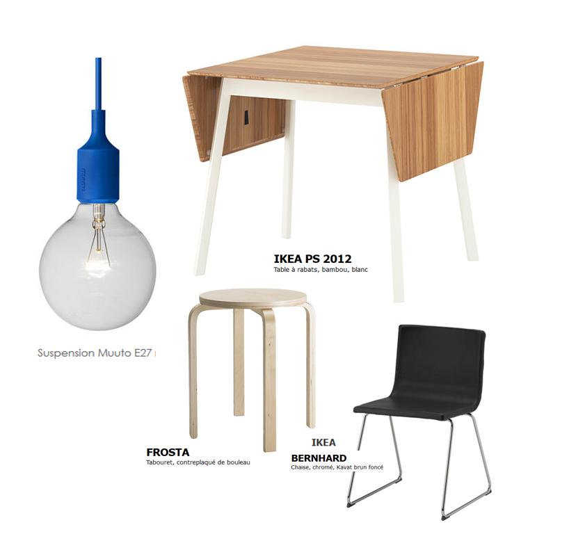 table cuisine - chaise - ampoule