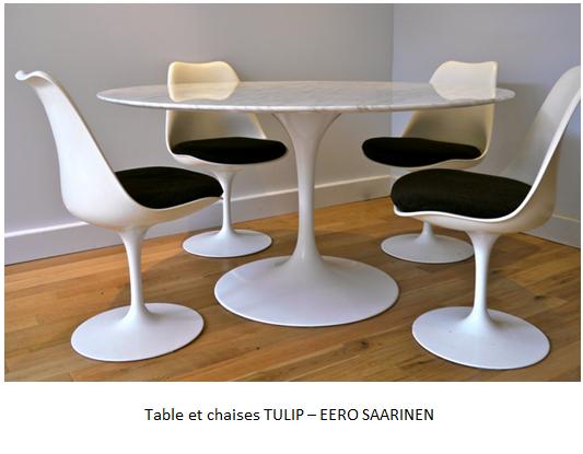 table et chaises TULIP EERO SAARINEN