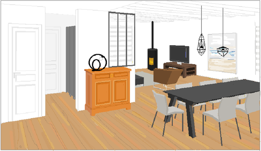cloison atelier - mur blanc - salle à manger